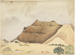 Unfinished sketch of bare hills; bungalows in foreground.  Probably a view of Satara Fort